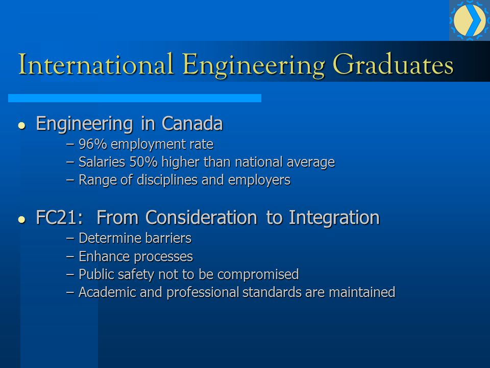 International Engineering Graduates Engineering in Canada Engineering in Canada –96% employment rate –Salaries 50% higher than national average –Range of disciplines and employers FC21: From Consideration to Integration FC21: From Consideration to Integration –Determine barriers –Enhance processes –Public safety not to be compromised –Academic and professional standards are maintained