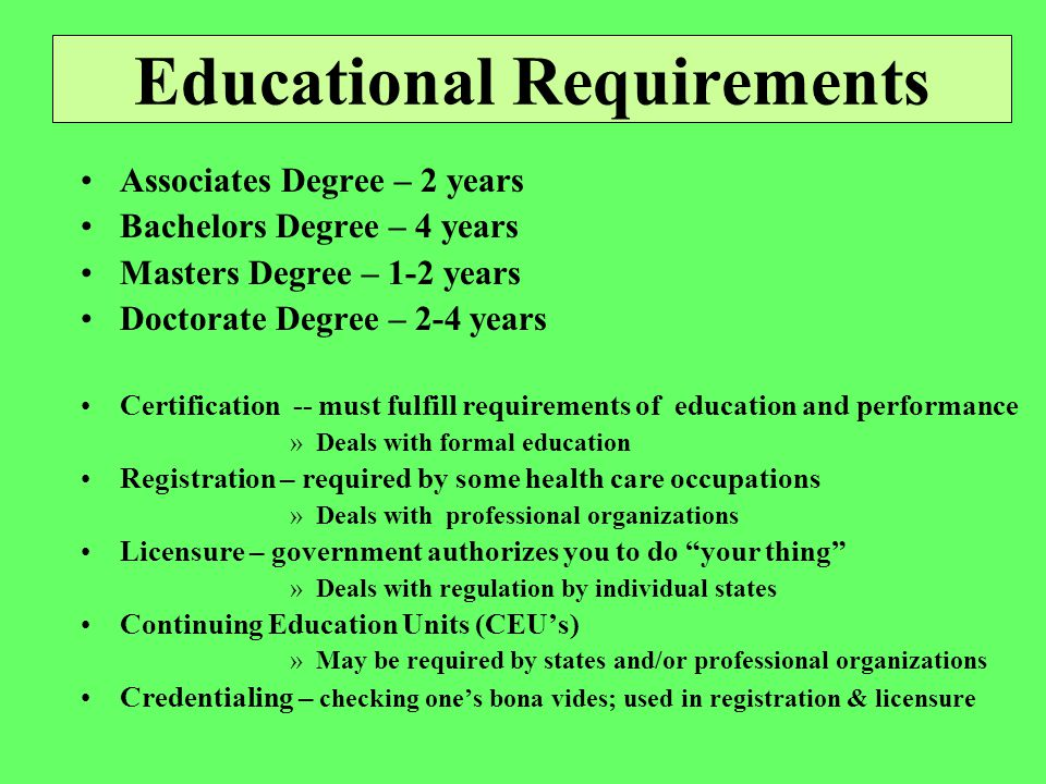 Dietary Services Dietician Registered & licensed Need BA Dietetic technician Need associates degree Need registration Dietetic assistant