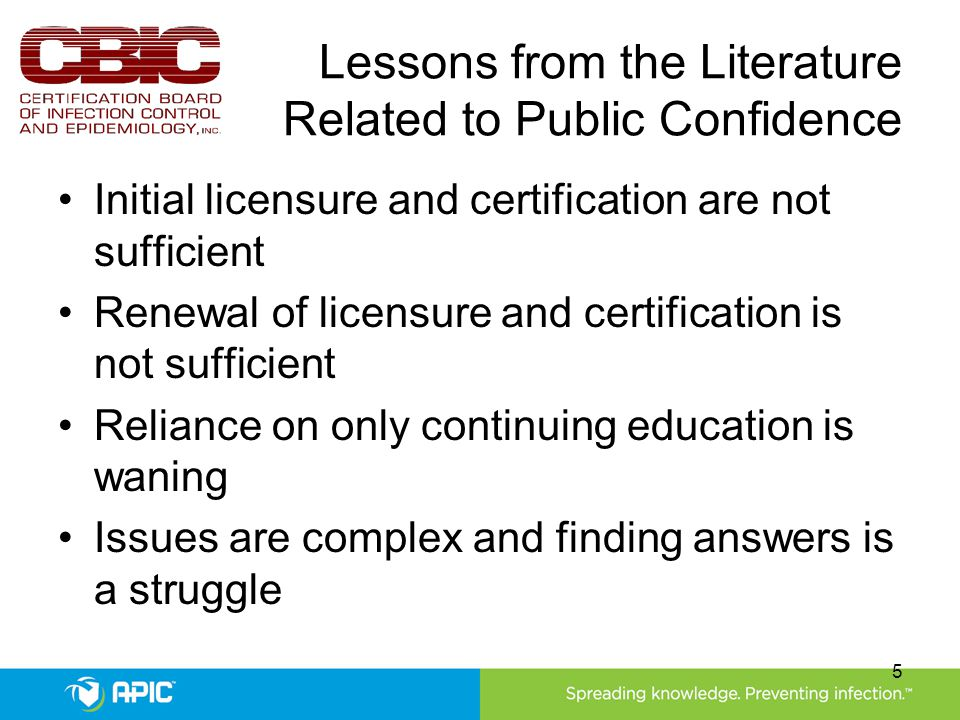 Lessons from the Literature Related to Public Confidence Initial licensure and certification are not sufficient Renewal of licensure and certification is not sufficient Reliance on only continuing education is waning Issues are complex and finding answers is a struggle 5