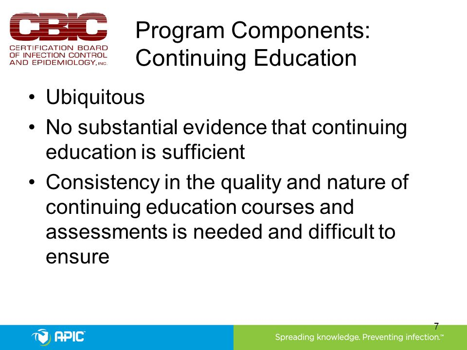 Program Components: Continuing Education Ubiquitous No substantial evidence that continuing education is sufficient Consistency in the quality and nat