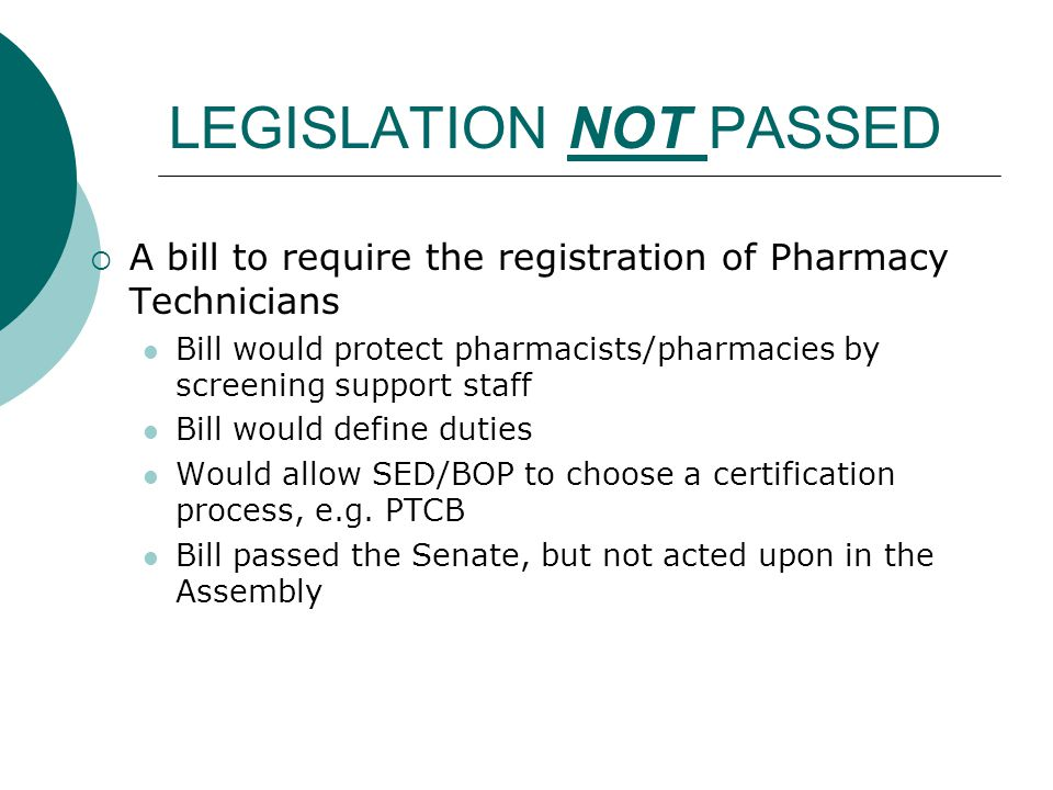 LEGISLATION NOT PASSED  A bill to require the registration of Pharmacy Technicians Bill would protect pharmacists/pharmacies by screening support sta
