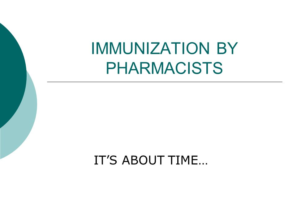IMMUNIZATION BY PHARMACISTS IT'S ABOUT TIME…
