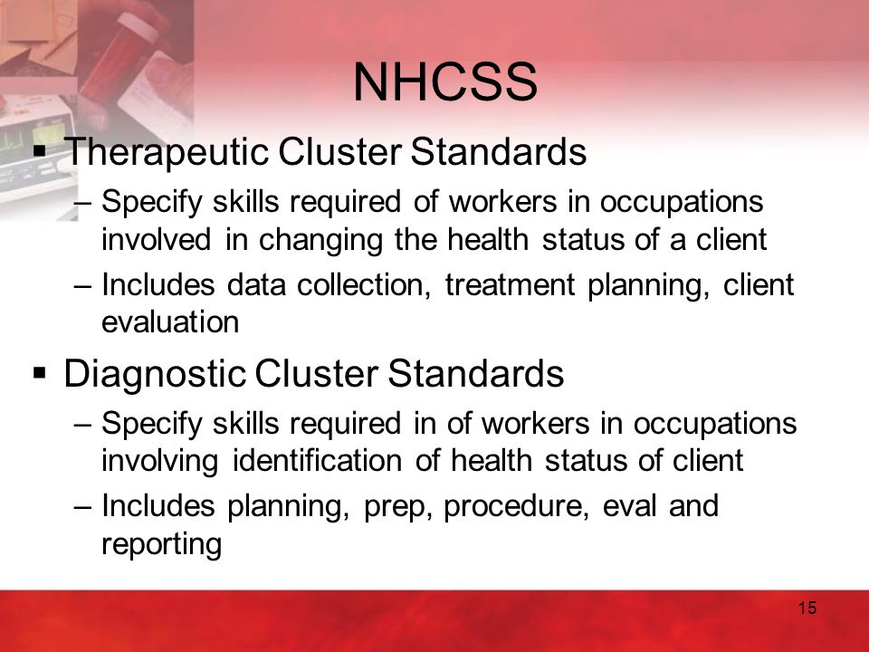 15 NHCSS  Therapeutic Cluster Standards –Specify skills required of workers in occupations involved in changing the health status of a client –Includ