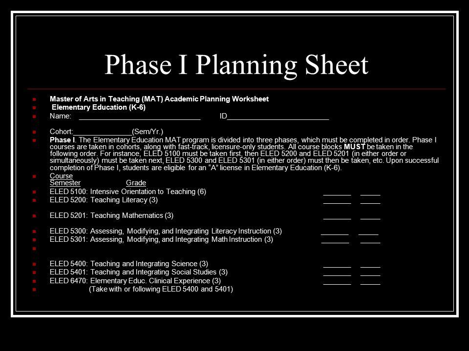 Phase I Planning Sheet Master of Arts in Teaching (MAT) Academic Planning Worksheet Elementary Education (K-6) Name: _______________________________ID__________________________ Cohort:_______________(Sem/Yr.) Phase I.
