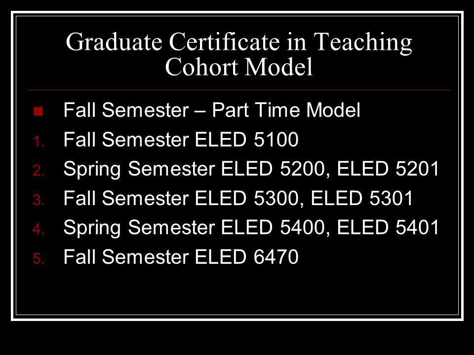Graduate Certificate in Teaching Cohort Model Fall Semester – Part Time Model 1.