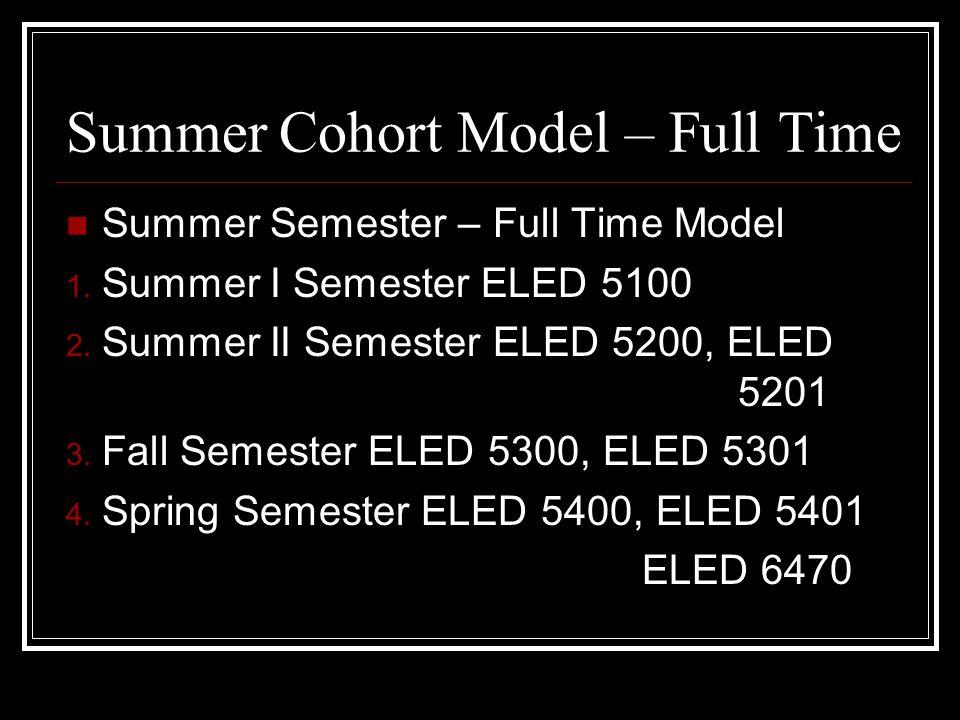 Summer Cohort Model – Full Time Summer Semester – Full Time Model 1.