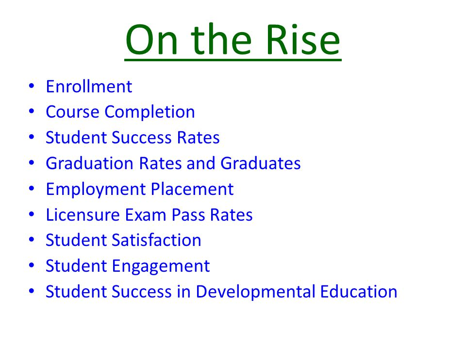 On the Rise Enrollment Course Completion Student Success Rates Graduation Rates and Graduates Employment Placement Licensure Exam Pass Rates Student Satisfaction Student Engagement Student Success in Developmental Education