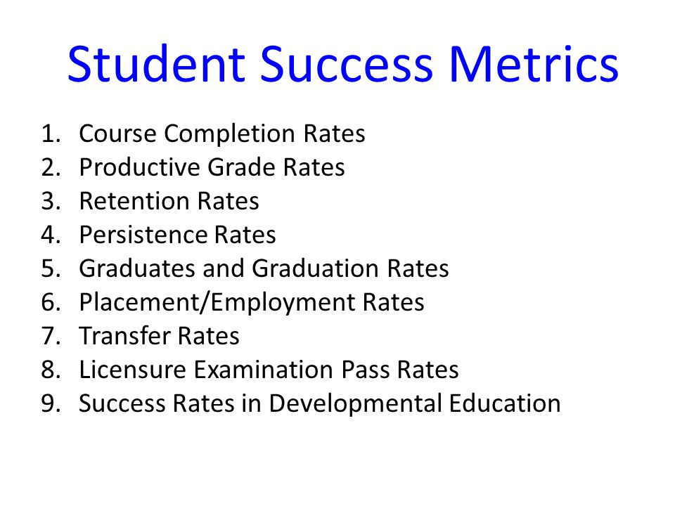Student Success Metrics 1.Course Completion Rates 2.Productive Grade Rates 3.Retention Rates 4.Persistence Rates 5.Graduates and Graduation Rates 6.Placement/Employment Rates 7.Transfer Rates 8.Licensure Examination Pass Rates 9.Success Rates in Developmental Education