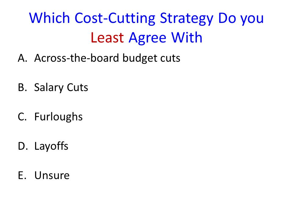 Which Cost-Cutting Strategy Do you Least Agree With A.Across-the-board budget cuts B.Salary Cuts C.Furloughs D.Layoffs E.Unsure