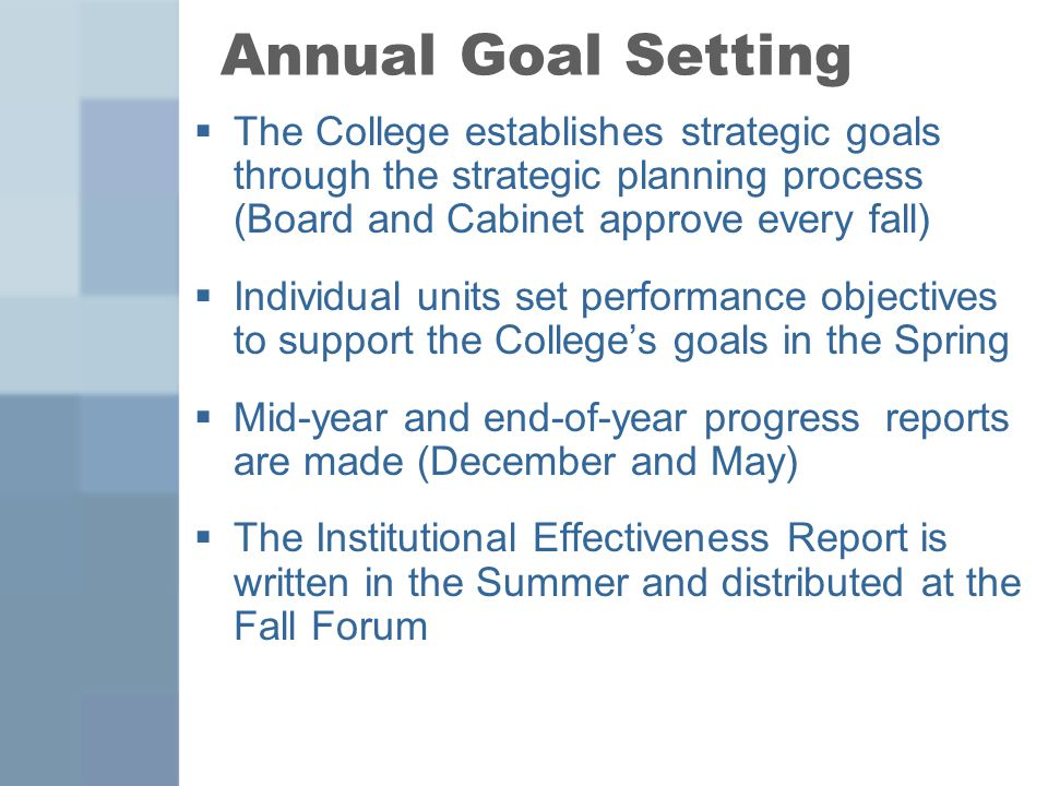 Annual Goal Setting  The College establishes strategic goals through the strategic planning process (Board and Cabinet approve every fall)  Individual units set performance objectives to support the College's goals in the Spring  Mid-year and end-of-year progress reports are made (December and May)  The Institutional Effectiveness Report is written in the Summer and distributed at the Fall Forum