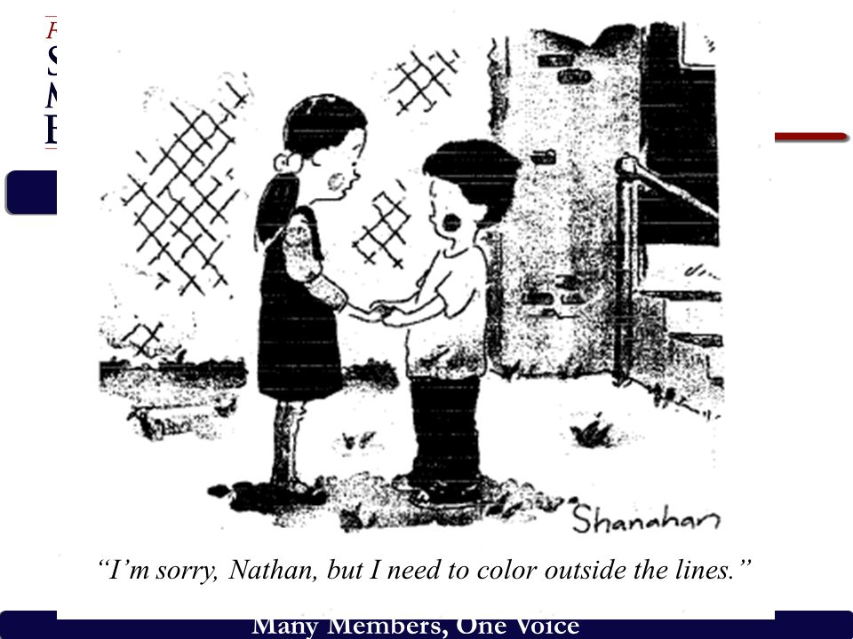 "Many Members, One Voice ""I'm sorry, Nathan, but I need to color outside the lines."""