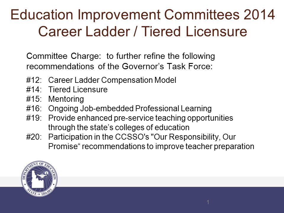 1 Committee Charge: to further refine the following recommendations of the Governor's Task Force: #12: Career Ladder Compensation Model #14: Tiered Licensure #15: Mentoring #16: Ongoing Job-embedded Professional Learning #19: Provide enhanced pre-service teaching opportunities through the state's colleges of education #20: Participation in the CCSSO s Our Responsibility, Our Promise recommendations to improve teacher preparation Education Improvement Committees 2014 Career Ladder / Tiered Licensure