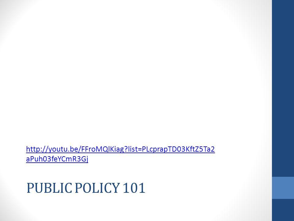 PUBLIC POLICY 101 http://youtu.be/FFroMQlKiag?list=PLcprapTD03KftZ5Ta2 aPuh03feYCmR3Gj