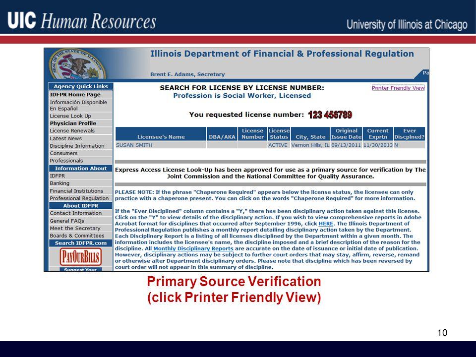 Primary Source Verification (click Printer Friendly View) 10