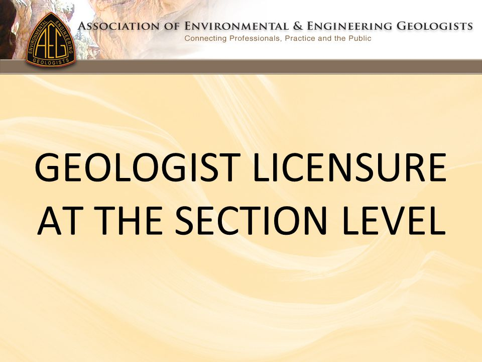 GEOLOGIST LICENSURE AT THE SECTION LEVEL