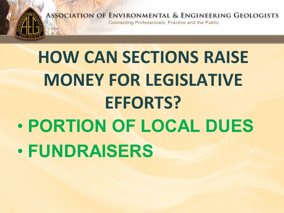 HOW CAN SECTIONS RAISE MONEY FOR LEGISLATIVE EFFORTS? PORTION OF LOCAL DUES FUNDRAISERS