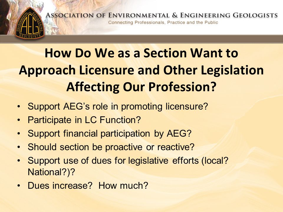 How Do We as a Section Want to Approach Licensure and Other Legislation Affecting Our Profession.