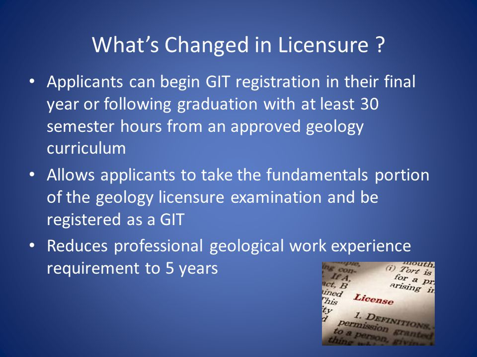 What's Changed in Licensure .