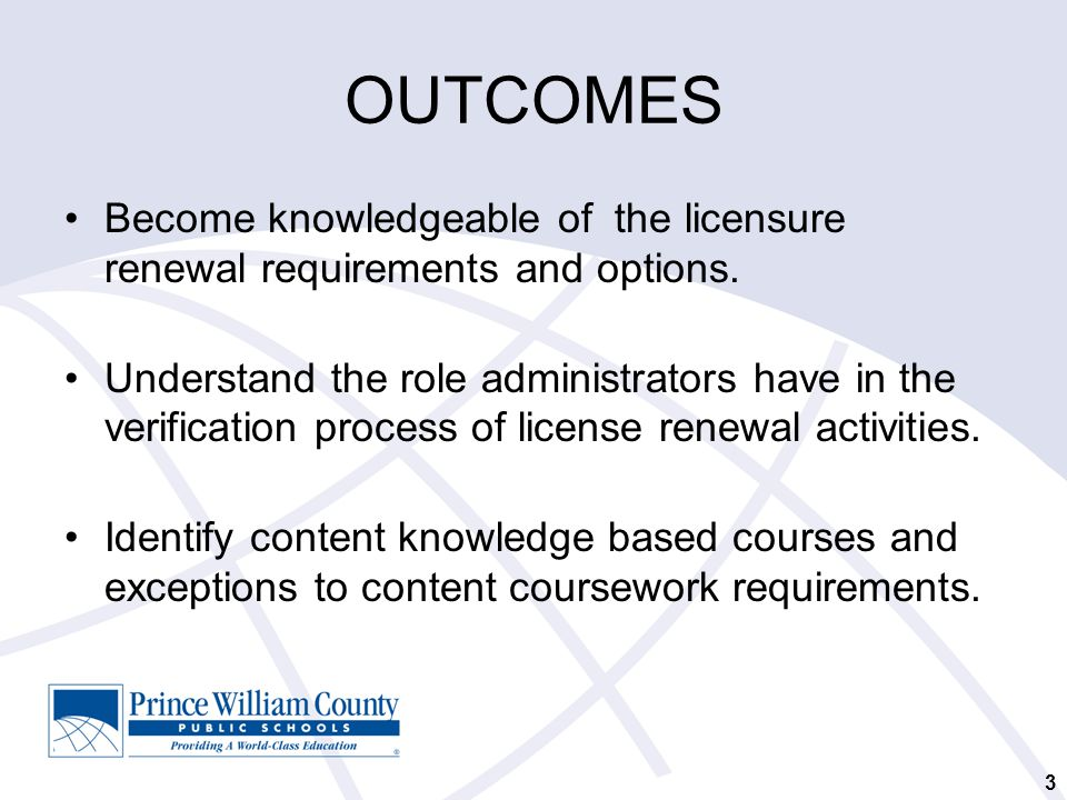 OUTCOMES Become knowledgeable of the licensure renewal requirements and options.