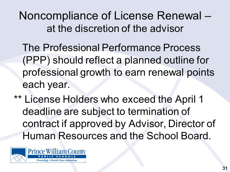 Noncompliance of License Renewal – at the discretion of the advisor The Professional Performance Process (PPP) should reflect a planned outline for professional growth to earn renewal points each year.