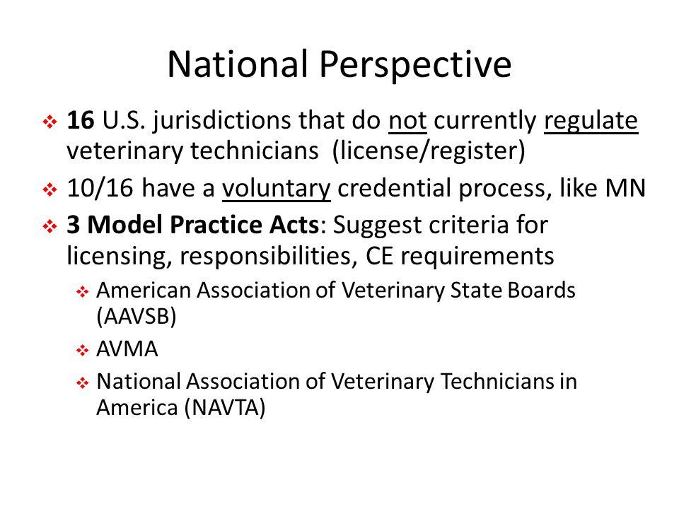 National Perspective  16 U.S.
