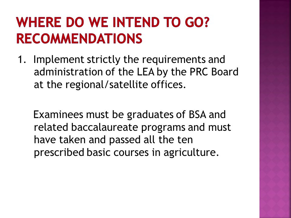 1. Implement strictly the requirements and administration of the LEA by the PRC Board at the regional/satellite offices. Examinees must be graduates o
