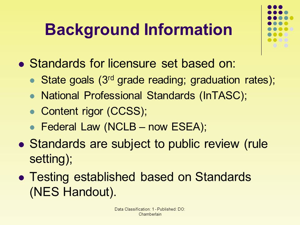 Standards for licensure set based on: State goals (3 rd grade reading; graduation rates); National Professional Standards (InTASC); Content rigor (CCS