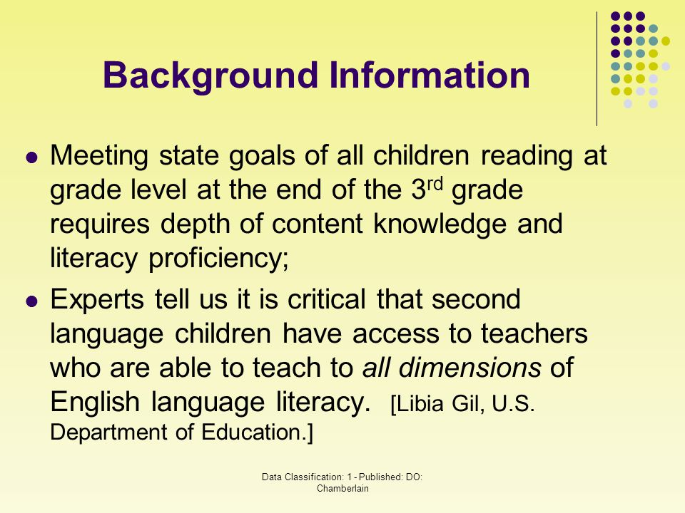 Meeting state goals of all children reading at grade level at the end of the 3 rd grade requires depth of content knowledge and literacy proficiency;