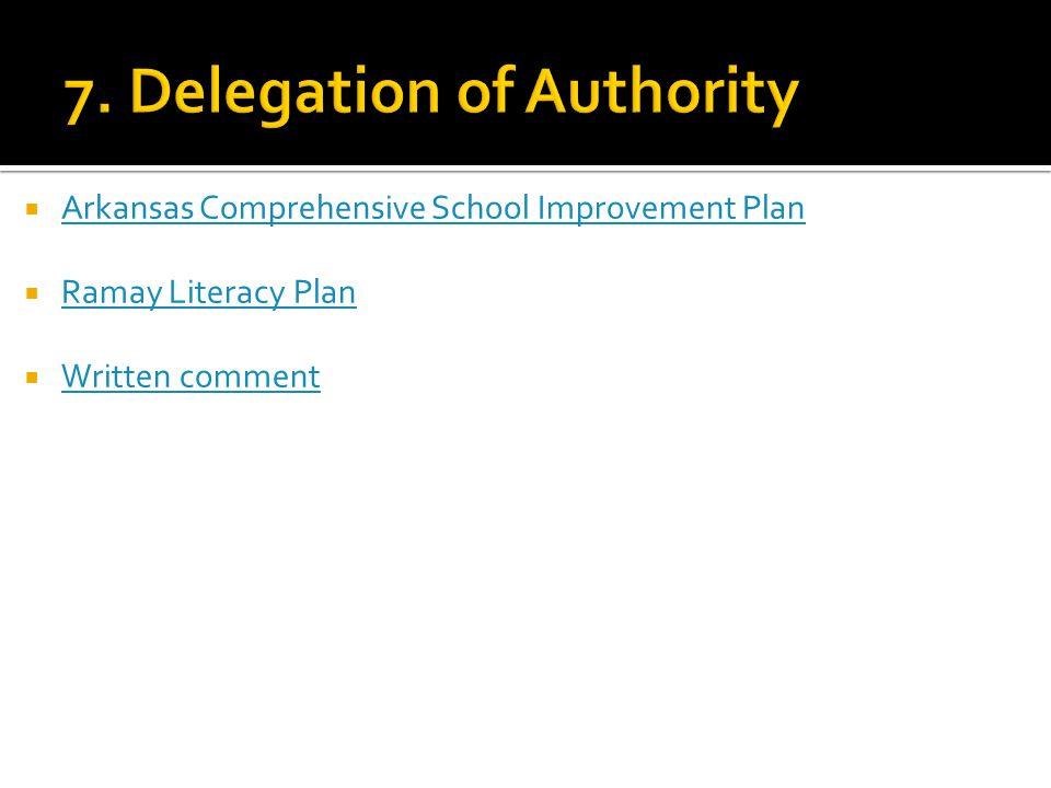  Arkansas Comprehensive School Improvement Plan Arkansas Comprehensive School Improvement Plan  Ramay Literacy Plan Ramay Literacy Plan  Written comment Written comment