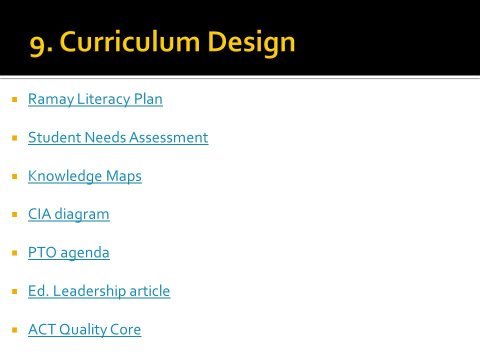  Ramay Literacy Plan Ramay Literacy Plan  Student Needs Assessment Student Needs Assessment  Knowledge Maps Knowledge Maps  CIA diagram CIA diagram  PTO agenda PTO agenda  Ed.