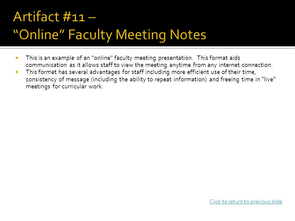  This is an example of an online faculty meeting presentation.