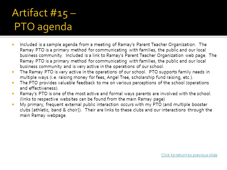  Included is a sample agenda from a meeting of Ramay s Parent Teacher Organization.