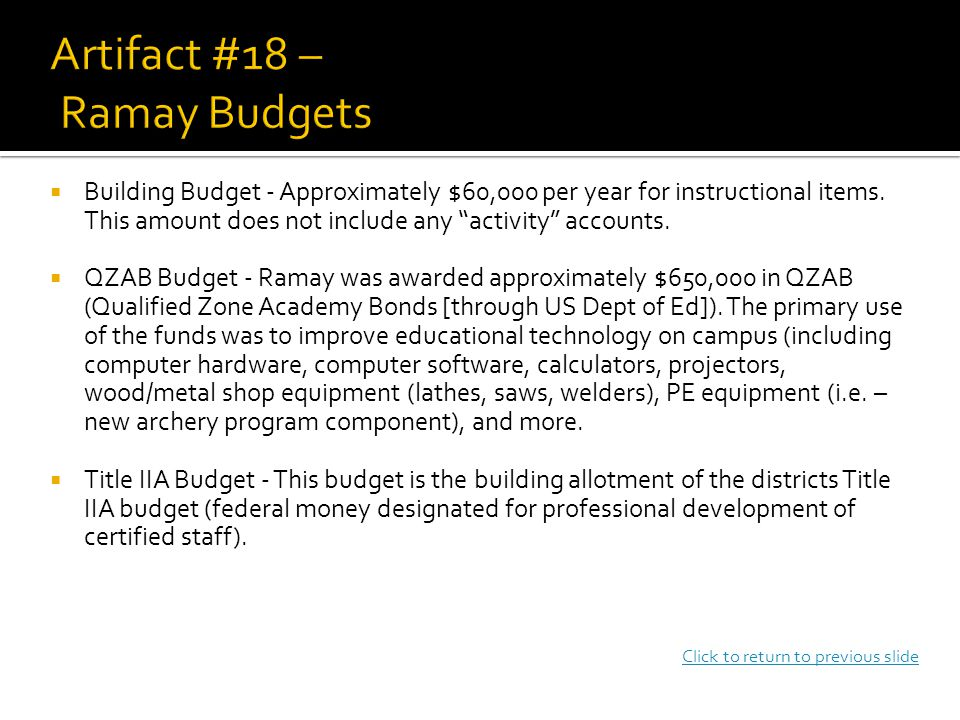  Building Budget - Approximately $60,000 per year for instructional items.