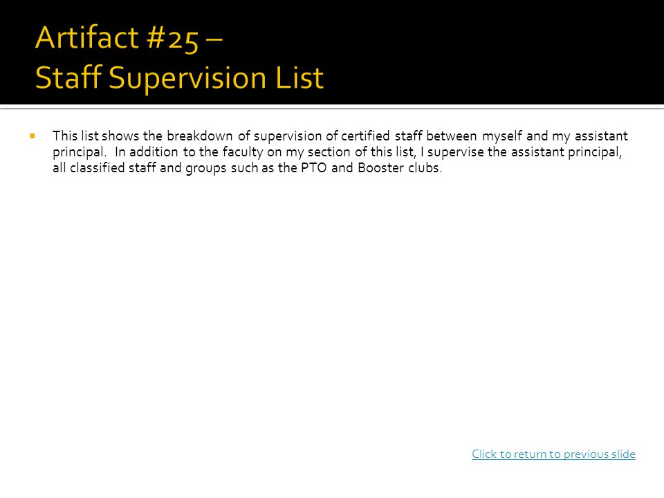  This list shows the breakdown of supervision of certified staff between myself and my assistant principal.