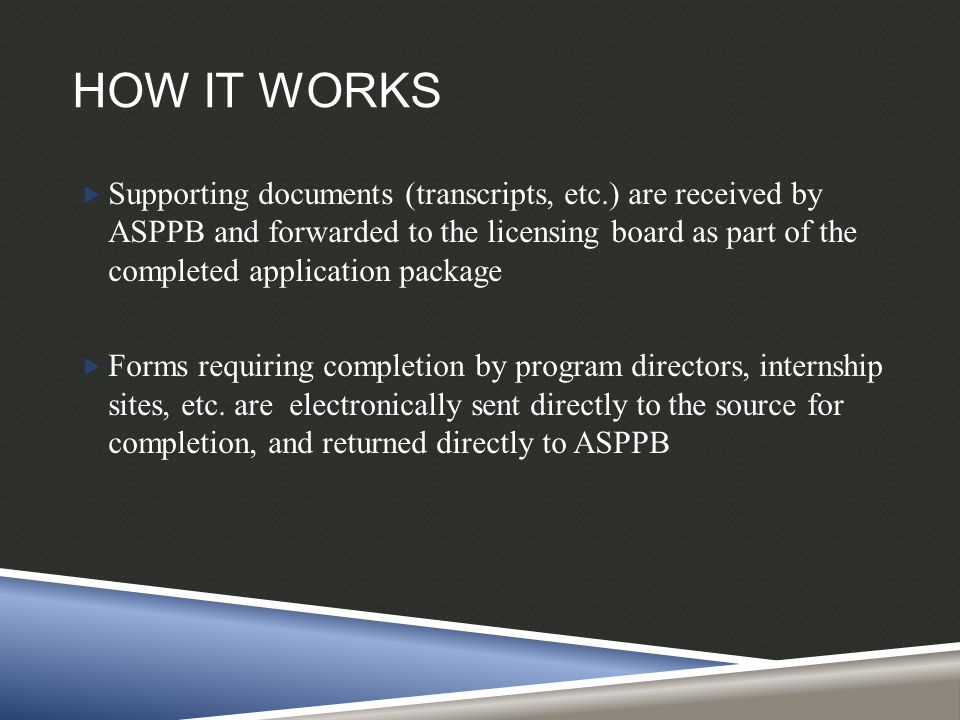 HOW IT WORKS  Supporting documents (transcripts, etc.) are received by ASPPB and forwarded to the licensing board as part of the completed application package  Forms requiring completion by program directors, internship sites, etc.