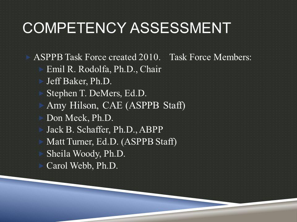 COMPETENCY ASSESSMENT  ASPPB Task Force created 2010. Task Force Members:  Emil R. Rodolfa, Ph.D., Chair  Jeff Baker, Ph.D.  Stephen T. DeMers, Ed