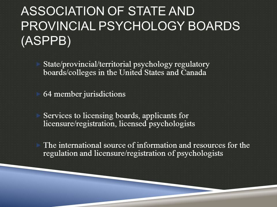 ASPPB  Develops and maintains the Examination for Professional Practice of Psychology (EPPP)  Facilitates professional mobility for already licensed psychologists through several programs, CPQ, IPC, Credentials Bank  Has developed a universal application for licensure: PLUS Psychology Licensure Universal System  A number of other projects including Maintenance of Competence and Licensure, Competency Assessment, Telepsychology Guidelines