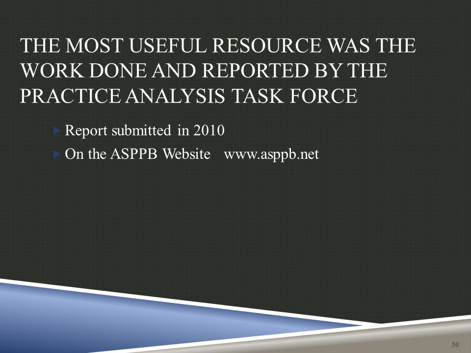 THE MOST USEFUL RESOURCE WAS THE WORK DONE AND REPORTED BY THE PRACTICE ANALYSIS TASK FORCE 30  Report submitted in 2010  On the ASPPB Website www.a