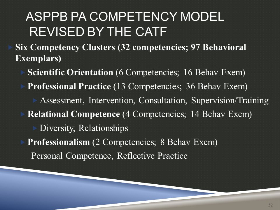 ASPPB PA COMPETENCY MODEL REVISED BY THE CATF  Six Competency Clusters (32 competencies; 97 Behavioral Exemplars)  Scientific Orientation (6 Compete