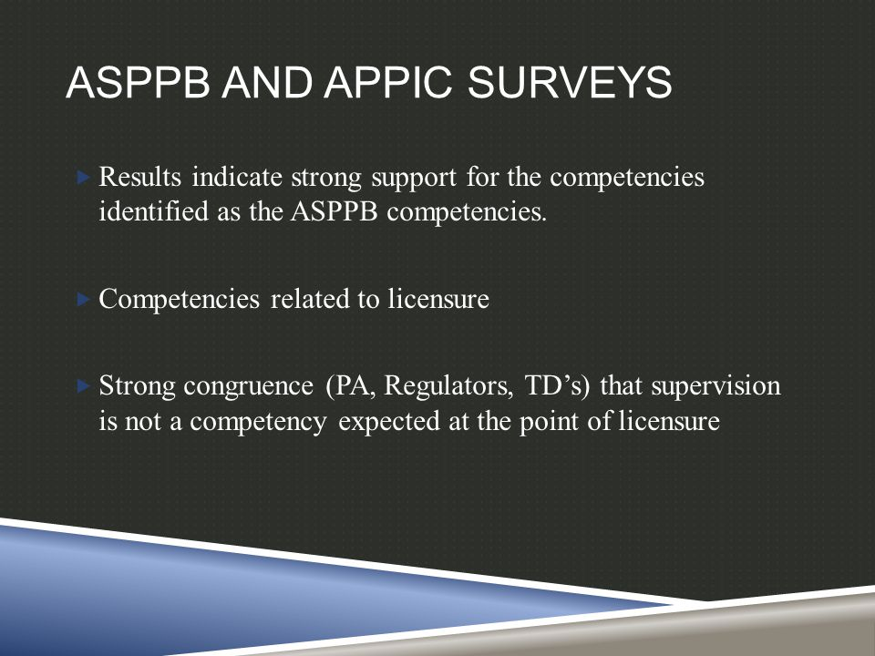ASPPB AND APPIC SURVEYS  Results indicate strong support for the competencies identified as the ASPPB competencies.