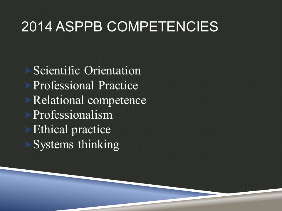 2014 ASPPB COMPETENCIES  Scientific Orientation  Professional Practice  Relational competence  Professionalism  Ethical practice  Systems thinking