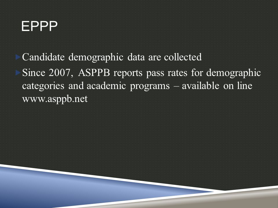 EPPP  Candidate demographic data are collected  Since 2007, ASPPB reports pass rates for demographic categories and academic programs – available on line www.asppb.net
