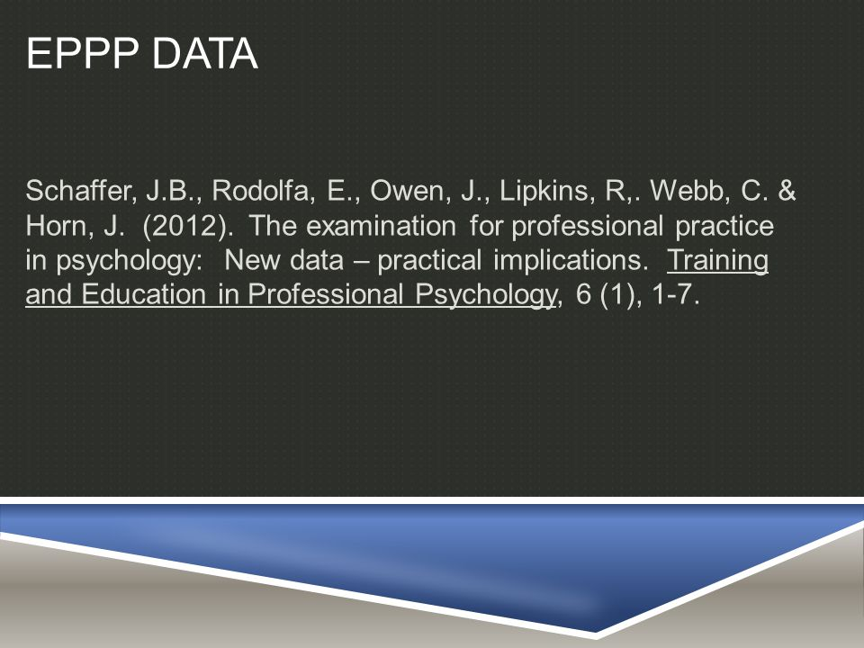 SAMPLE AND PROCEDURE  7,402 Doctoral Candidates: over a 2 year period  75% Female; 25% Male  48% PsyD; 51% PhD; 1% EdD or other  Candidates for licensure filled out a demographic questionnaire on a variety of characteristics.