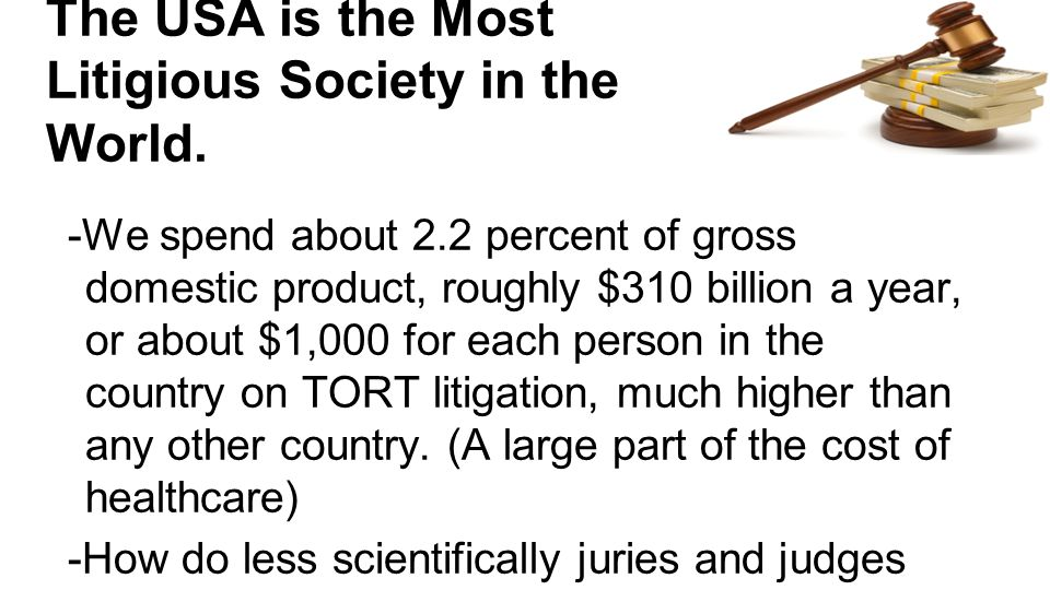 The USA is the Most Litigious Society in the World.