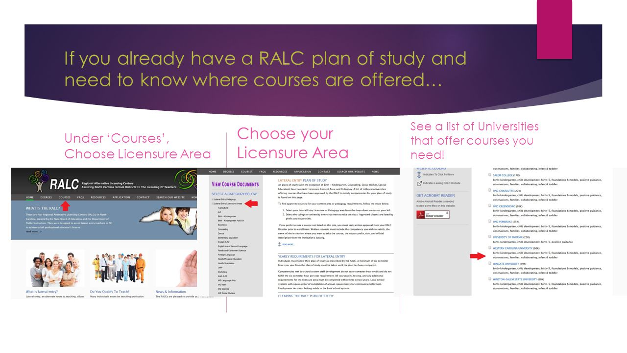 If you already have a RALC plan of study and need to know where courses are offered… Under 'Courses', Choose Licensure Area Choose your Licensure Area See a list of Universities that offer courses you need!