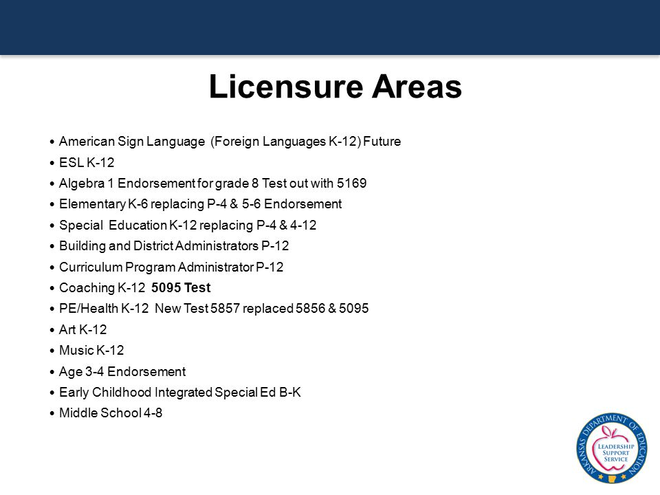 Licensure Areas American Sign Language (Foreign Languages K-12) Future ESL K-12 Algebra 1 Endorsement for grade 8 Test out with 5169 Elementary K-6 re