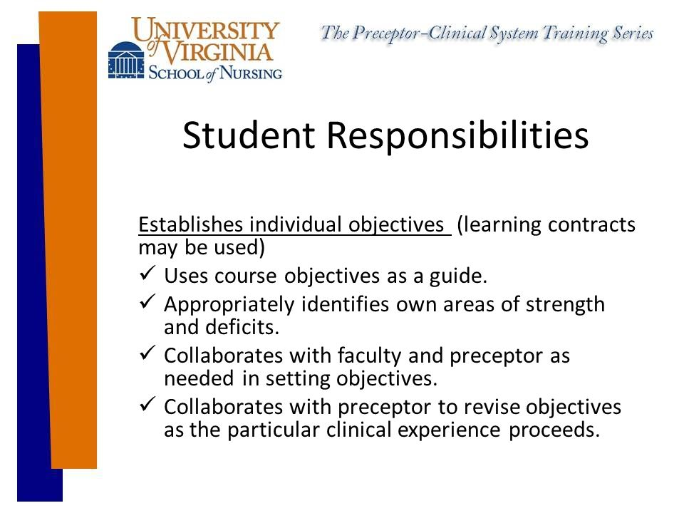 Student Responsibilities Establishes individual objectives (learning contracts may be used) Uses course objectives as a guide.