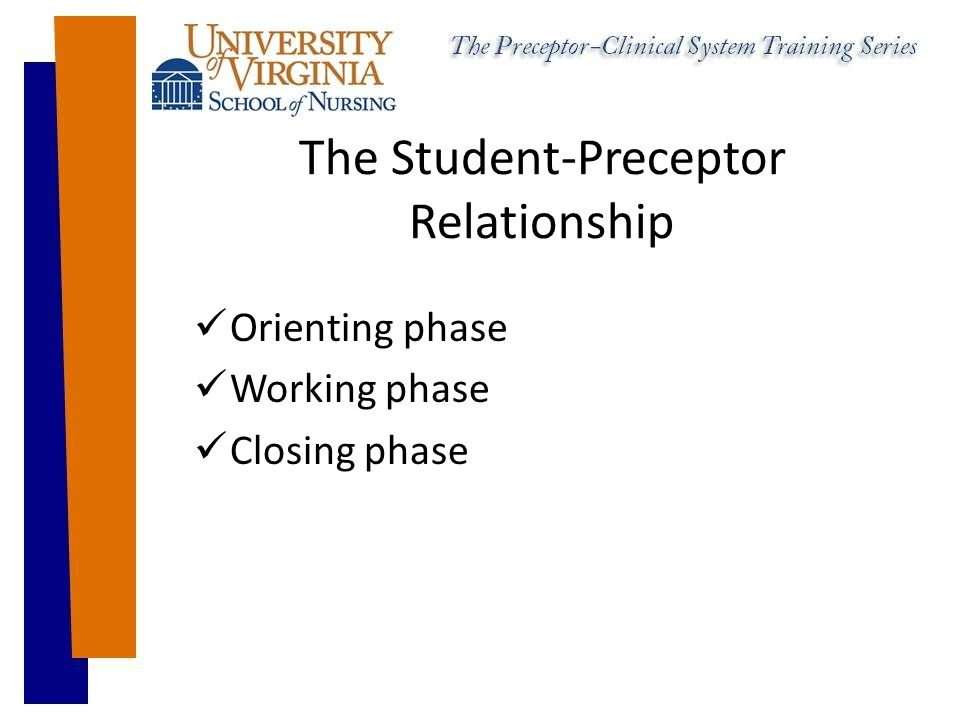 The Student-Preceptor Relationship Orienting phase Working phase Closing phase