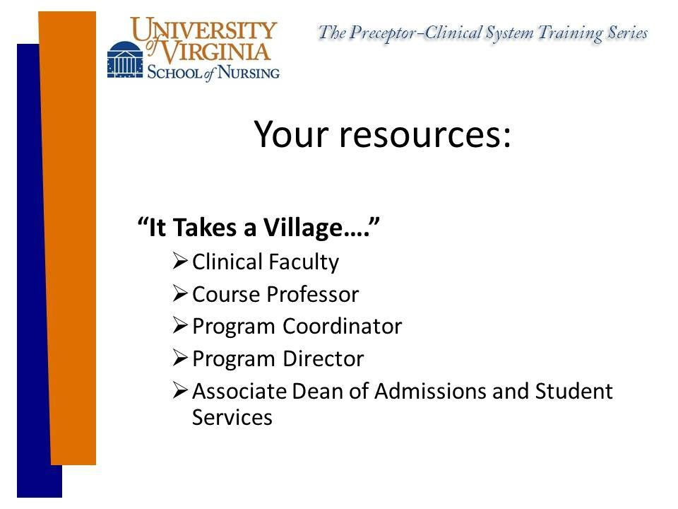 Your resources: It Takes a Village….  Clinical Faculty  Course Professor  Program Coordinator  Program Director  Associate Dean of Admissions and Student Services