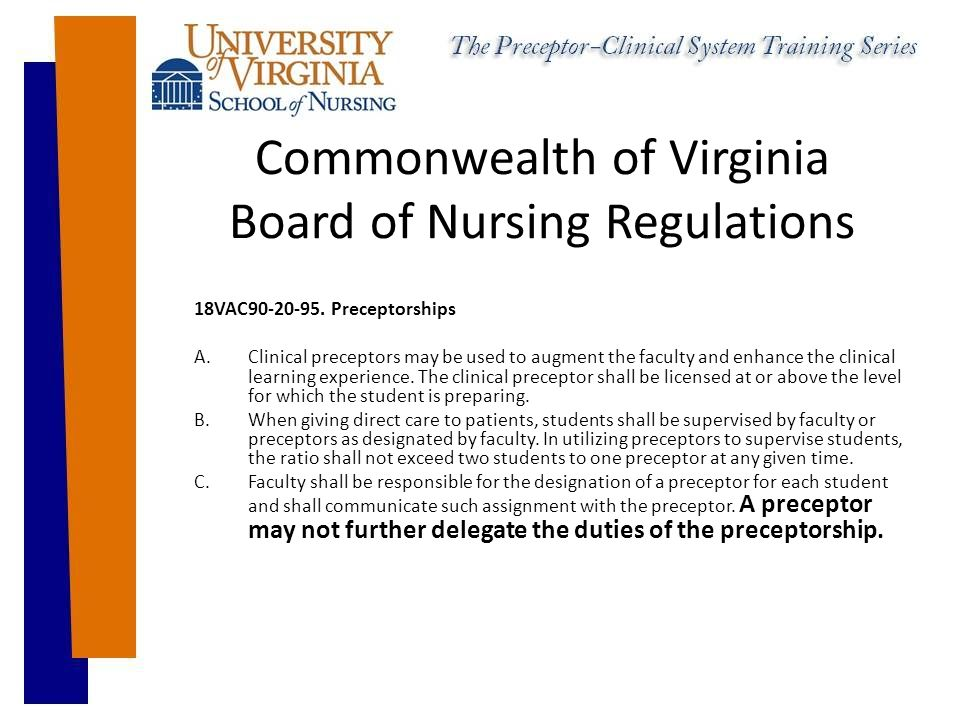 Commonwealth of Virginia Board of Nursing Regulations 18VAC90-20-95.